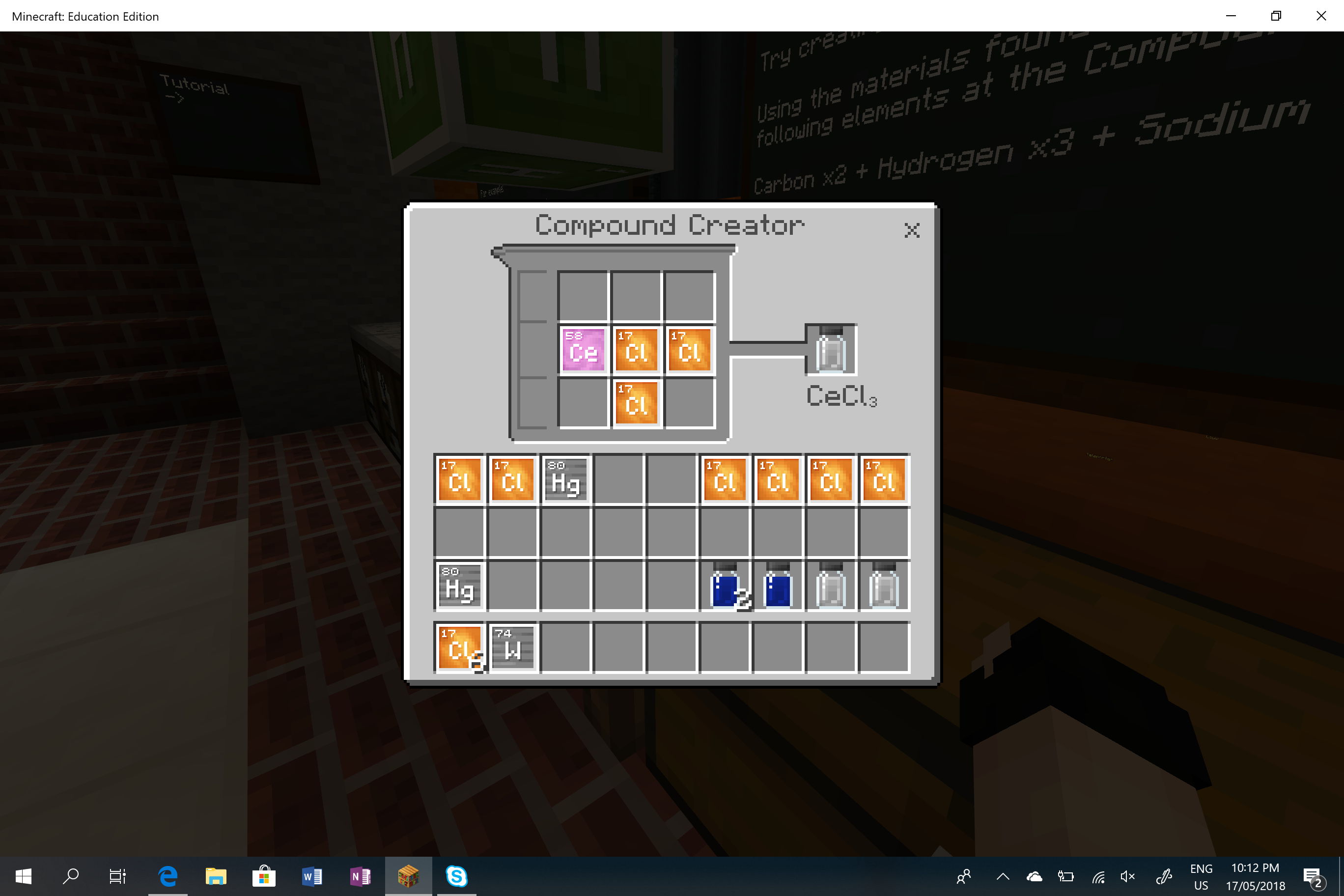 Lighting fires with the Chemistry Add in for MinecraftEDU
